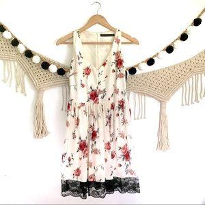 ZARA Cream Floral Rose Black Lace Trim Dress